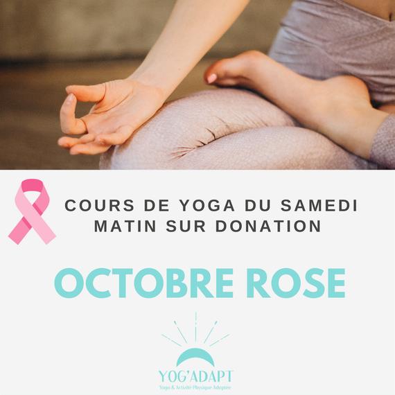 Cours de yoga sur donation pour la lutte contre le cancer du sein